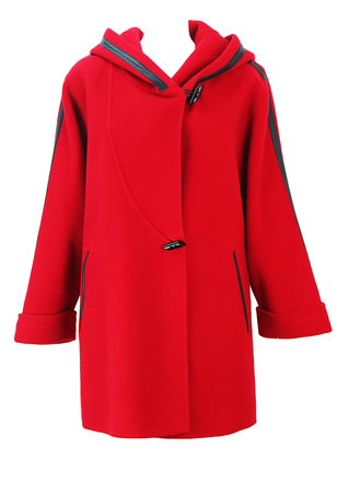 Red Wool Hooded Oversized Style Coat with Black Leather Trim - M