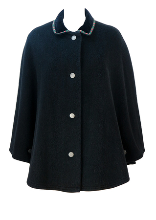 Tyrolean Black Wool Cape with Traditional Coin Buttons & Floral Edged Velvet Collar - S/M