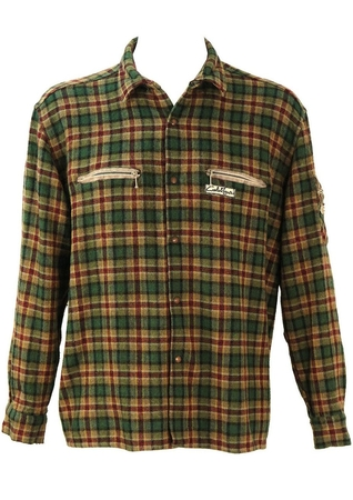 Green & Red Tartan Check Flannel Shirt - L/XL