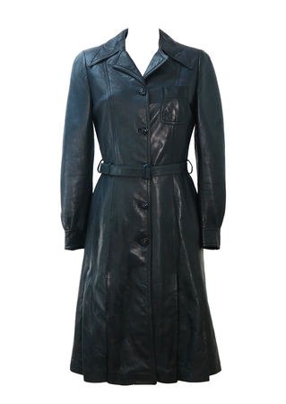 Vintage 70's Navy Blue Belted Leather Coat with Pleat Detail - S