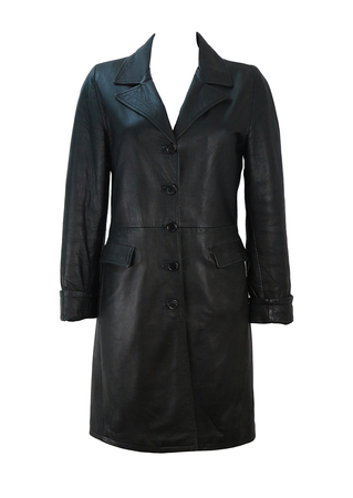 Black Leather Coat with Flap Pockets - S/M