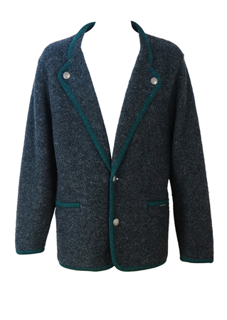 Geiger Mottled Grey, Felted Wool Jacket with Green Braiding - L/XL