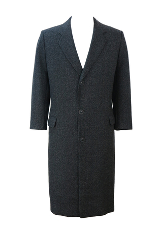 Single Breasted Pure Wool Coat in Mottled Grey - M/L
