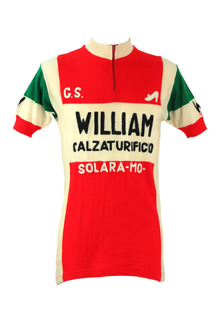 Italian 'Maruz Sport' Red, Cream & Green Cycling Jersey Top - M/L