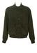 Olive Green Soft Suede Buttoned Bomber Jacket - L