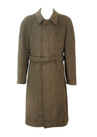 Brown, Grey & Black Single Breasted Tweed Wool Coat with Belt - L/XL