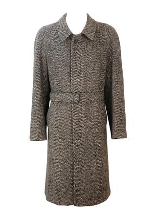 Brown, Grey & Cream Vintage Herringbone Tweed Belted Coat - L
