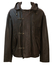 Brown Leather Multi Pocket Jacket with Metal Clasp Detail & Detachable Hood - L/XL