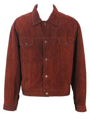 Chestnut Brown Suede Trucker Jacket - M/L