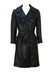 Vintage 70's Black Double Breasted Leather Trench Coat - S/M