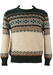 Shetland Style Patterned Jumper in Green, Brown & Cream - M/L