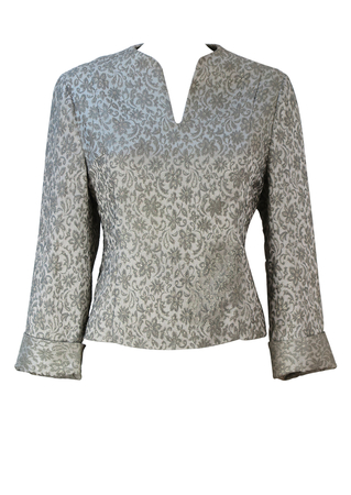 Vintage 60's Silver Evening Top with Textured Floral & Metallic Thread Pattern - M/L