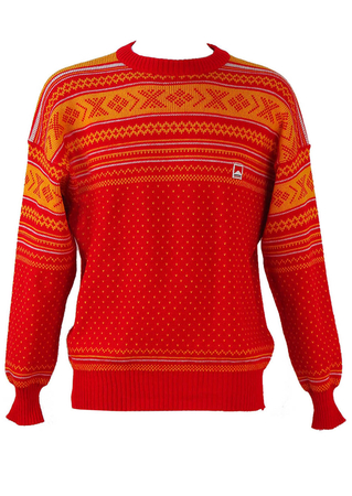 Pure New Wool Red and Yellow Patterned Jumper - L/XL