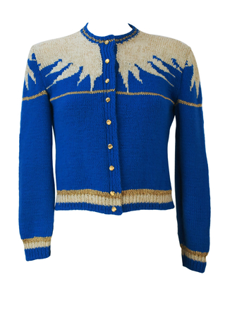 Blue, White & Metallic Gold Cropped Knit Cardigan with Icicle Like Pattern - S
