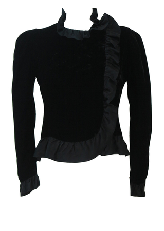Black Velvet Cropped Fitted Jacket with Puff Shoulders & Frill Edging - S