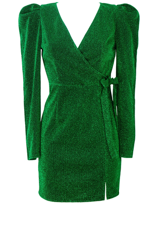 Sparkly Emerald Green Mini Evening Dress with Puff Sleeves - S