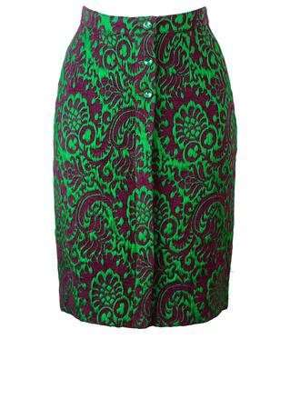 Vintage 60's Green & Purple Flock Patterned Knee Length Pencil Skirt - XS/S