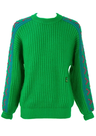 Chunky Green Wool Jumper with Blue Patterned Sleeves - L/XL
