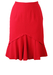 Red Fitted Knee Length Skirt with Flared Hemline - S