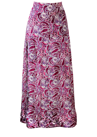 Vintage 70's Velvet Maxi Skirt with Purple & White Paisley Pattern - S