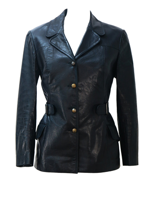 Vintage 60's Black Leather Fitted Jacket with Belt & Brass Button Detail - S