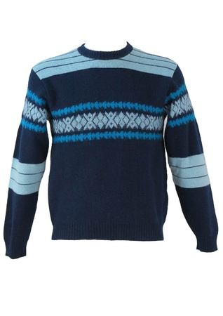 Blue and Turquoise Patterned, Padded Ski Jumper - S/M