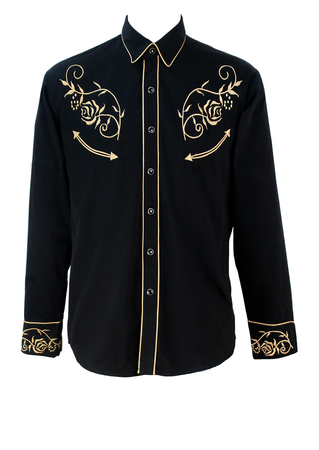 Stars & Stripes Black Western Shirt with Gold Floral Embroidery - M/L