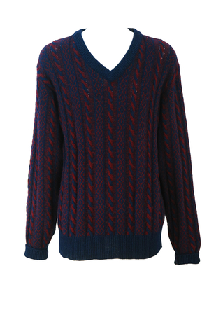 Vintage Robe di Kappa Burgundy & Blue V Neck Shetland Wool Cable Knit Jumper - L/XL