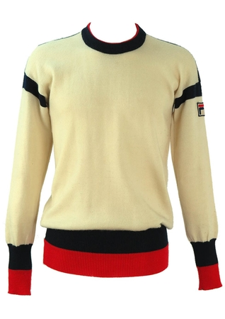 Vintage Fila Cream Wool Jumper with Blue and Red Edging - M
