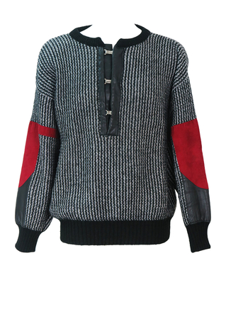 Black & White Striped Jumper with Black Leather and Red Suede Detail - L/XL