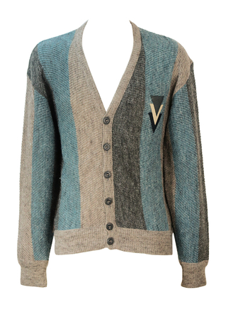 Grey and Blue Striped Cardigan with Leather Emblem Detail - M/L