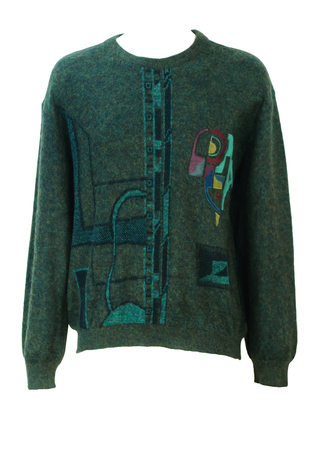 Mottled Grey & Green Wool & Mohair Jumper with Multicoloured Suede Abstract Pattern - L/XL