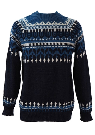 Navy Blue Wool Jumper with Nordic Style Pattern - M/L