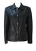 Black Leather Jacket with Back Belt Detail - S/M