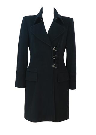Max Mara, Max & Co Wool & Angora Black Coat with Metal Clasp Detail - S/M
