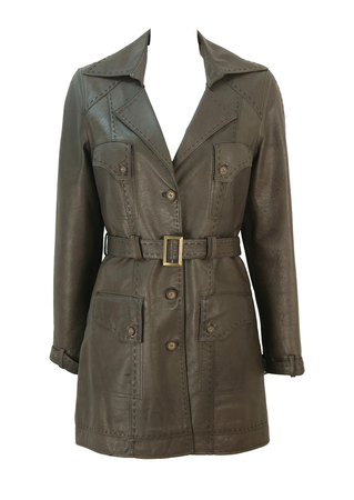 Brown Leather Trench Coat with Feature Pockets & Stitching Detail - M