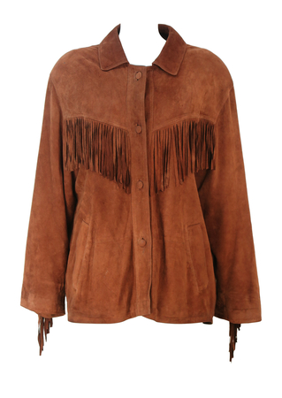 Vintage 90's Brown Suede Western Jacket with Fringe Detail - 90's oversize M / Casual L