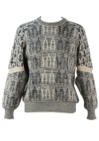 Textured Grey, Black and Cream Knit Patterned Jumper - L/XL