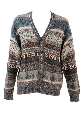 Grey Knit Cardigan with Brown, Blue & Cream Pattern - L/XL