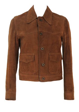Vintage 60's Brown Suede Fitted Jacket - XS/S