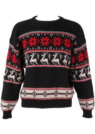 Black Nordic Style Jumper with Red & White Reindeer Pattern - L / XL
