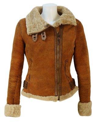 Guess Jeans Tan Brown Fitted Shearling Jacket with Leather Edging - XS/S
