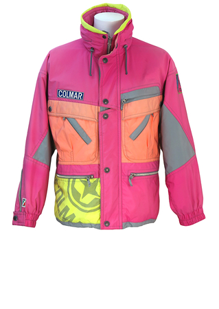 Colmar Pink, Orange, Yellow & Grey Patterned Ski Jacket with Multi Pockets & Patterned Lining - L