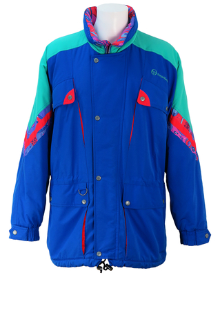 Sergio Tacchini & Marc Girardelli Jacket with Block Blue, Green & Red Pattern - L