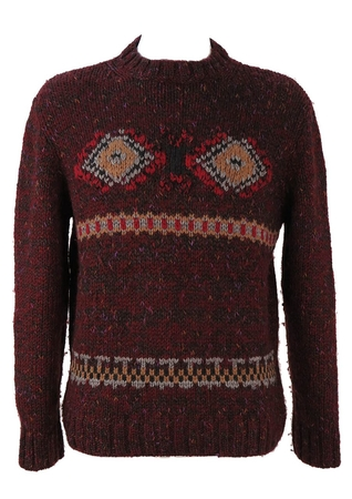 Burgundy Wool Jumper with Multi Coloured Eye Pattern - M/L