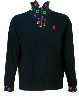 Conte of Florence Black Zip Neck Top with Multicoloured Geometric Pattern - L