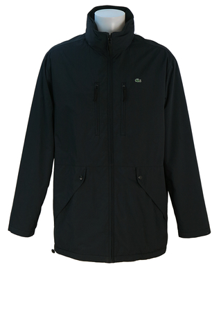 Lacoste Navy Blue, Fleece Lined Mac Style Coat with Pocket Detail - M/L