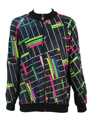 Santini Black Wool Cycling Jacket with Multicoloured Fluoro Graphic Pattern - L/XL