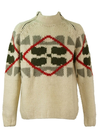 Chunky Cream Wool Jumper with Red, Green & Grey Graphic Pattern - L/XL