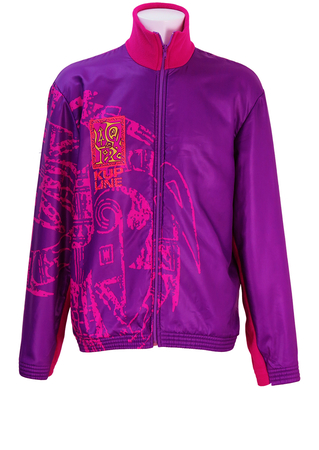 Purple Windcheater Jacket with Fleece Lining & Ethnic Style Graphic Pattern - XL
